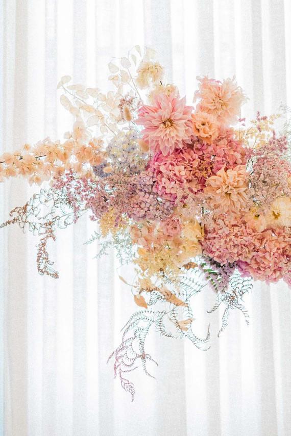 floating pink floral installation