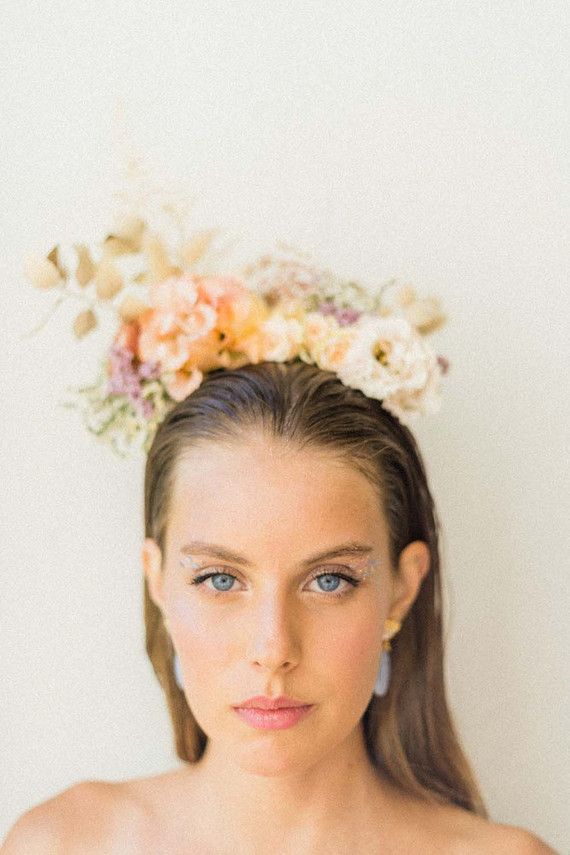 modern floral bridal headpiece