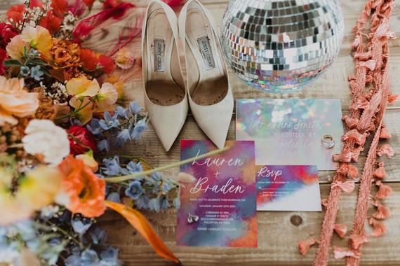 coachella inspired wedding invitations