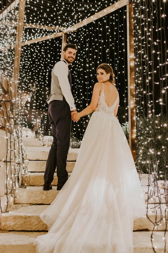 wedding reception tunnel of lights