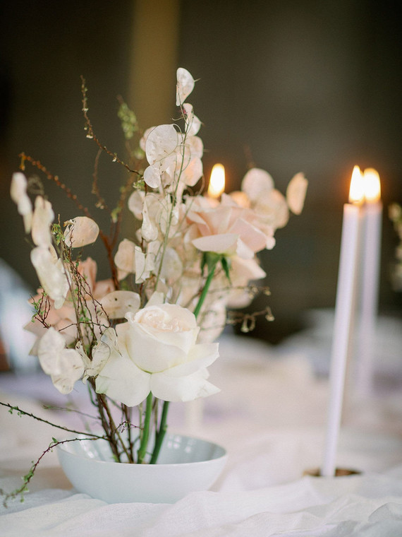 white and blush wedding tablescape