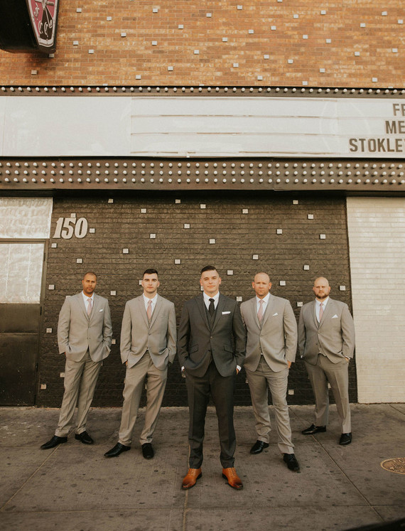 gray groomsmen and groom