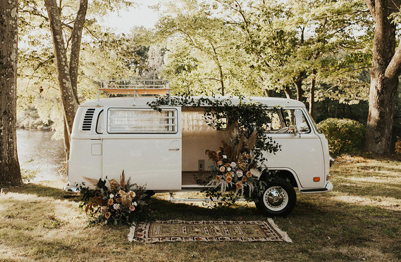 floral greenery vw van for elopement