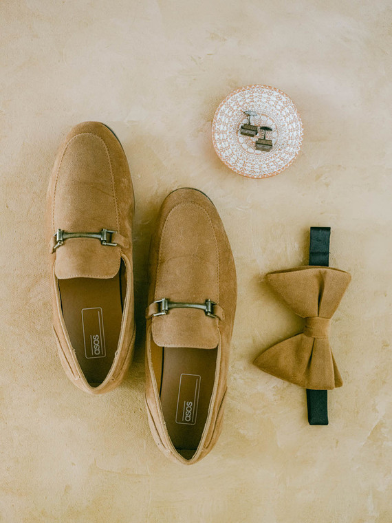 tan groom's accessories