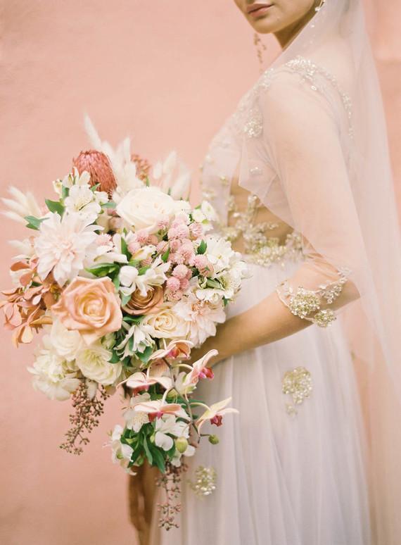Romantic peach wedding bouquet