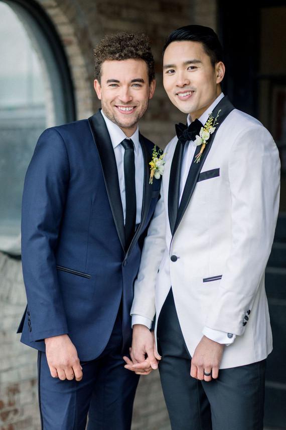 modern black and white gay wedding