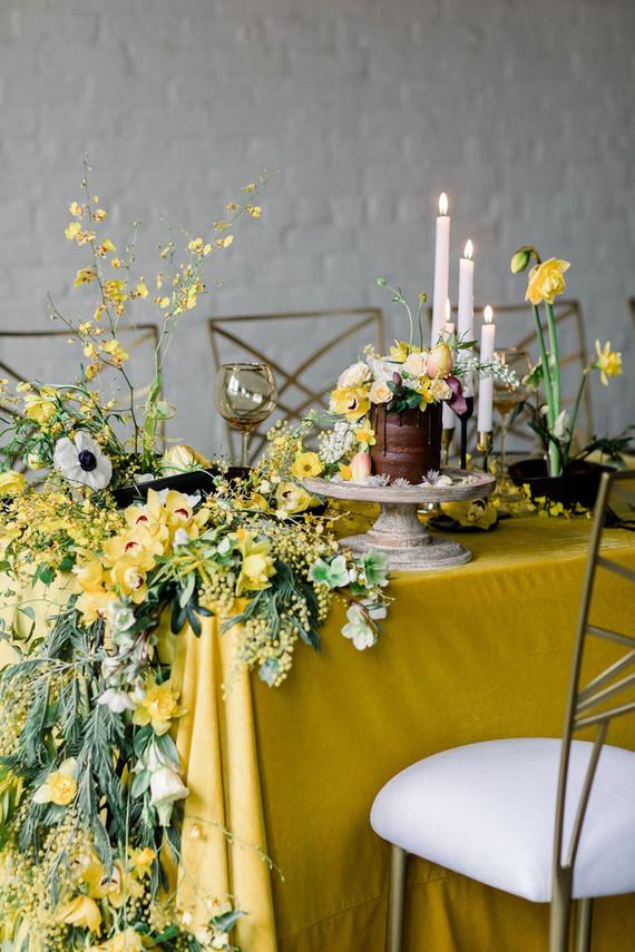 lush yellow table garland