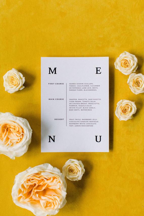 modern menu idea for wedding