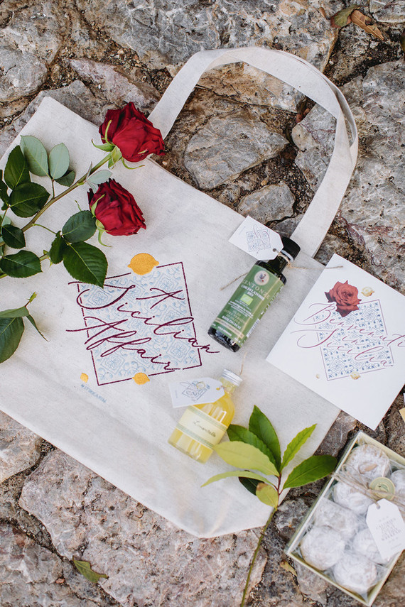 Sicily destination wedding favor bag