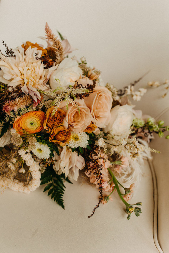 lush boho wedding flowers
