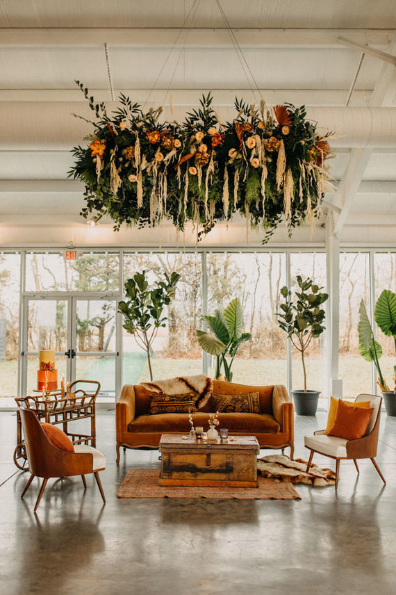 lush modern boho wedding floral installation
