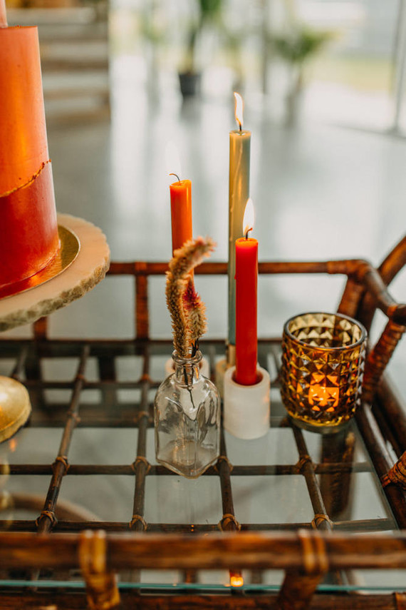 orange wedding candles