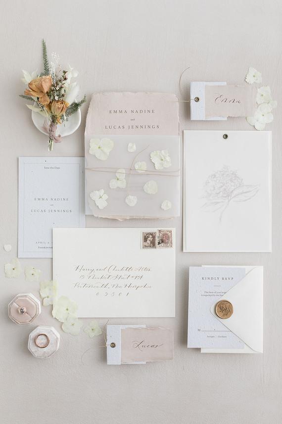 soft, romantic wedding stationery