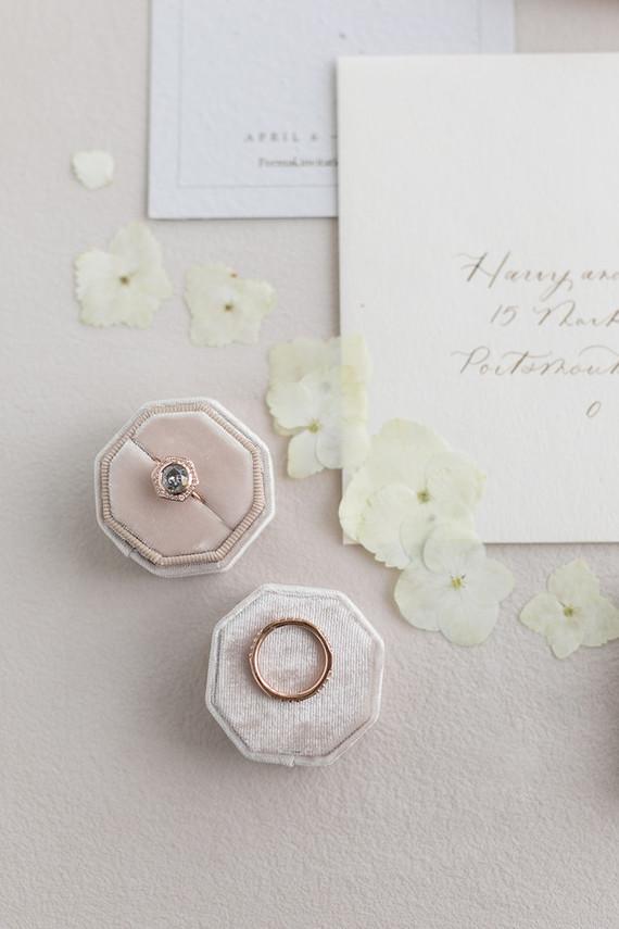 wedding rings in blush ring box