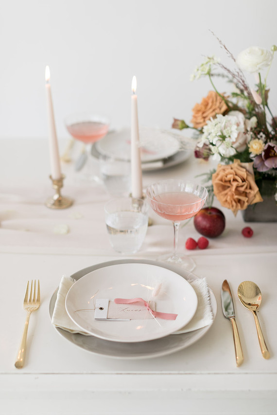 pink and white place setting