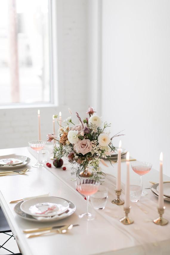 minimalist white tablescape