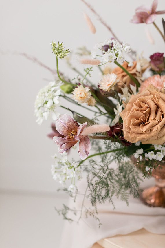 mixing dried and fresh flowers