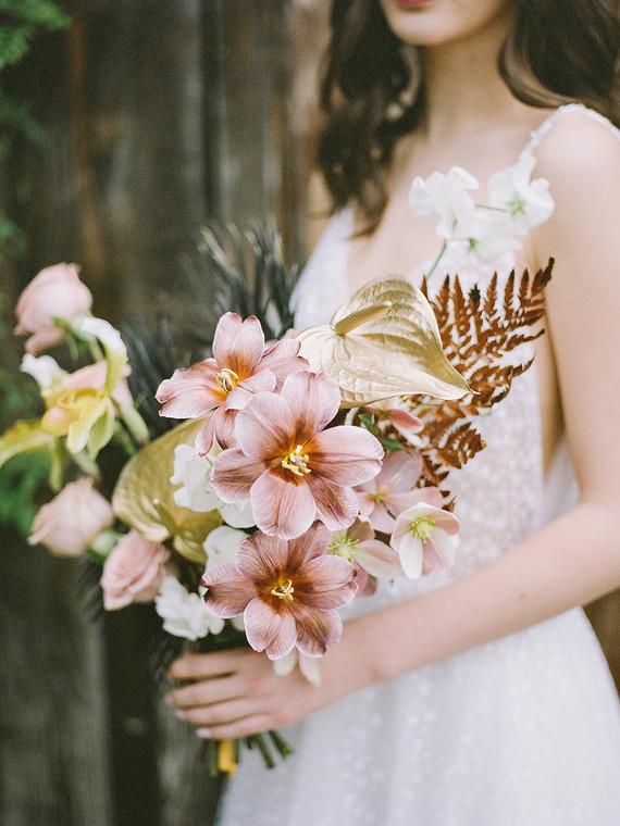 gold painted bridal bouquet