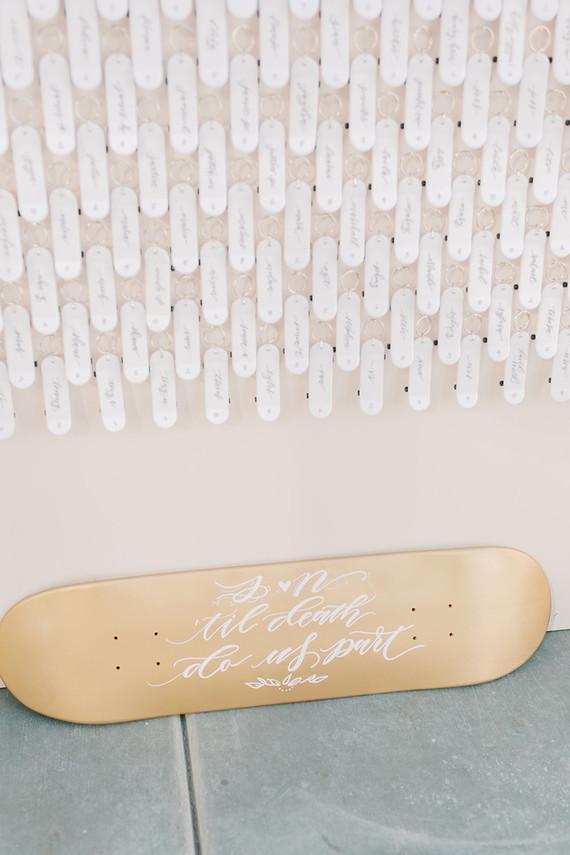 wedding calligraphy on skateboards