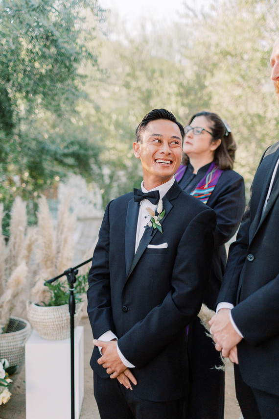 Formal black and white Palm Springs wedding