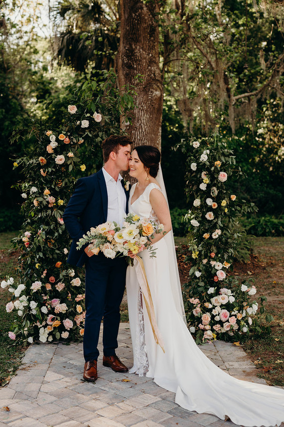 Romantic garden wedding with muted spring tones