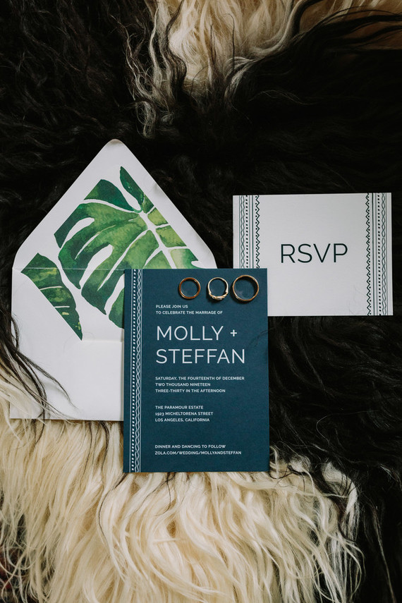monstera leaf wedding invitations