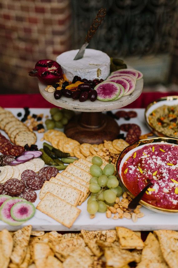 grazing table at wedding