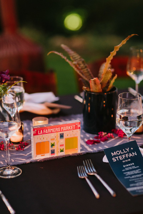 Los Angeles themed table numbers for wedding