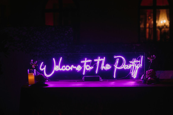 neon sign at wedding