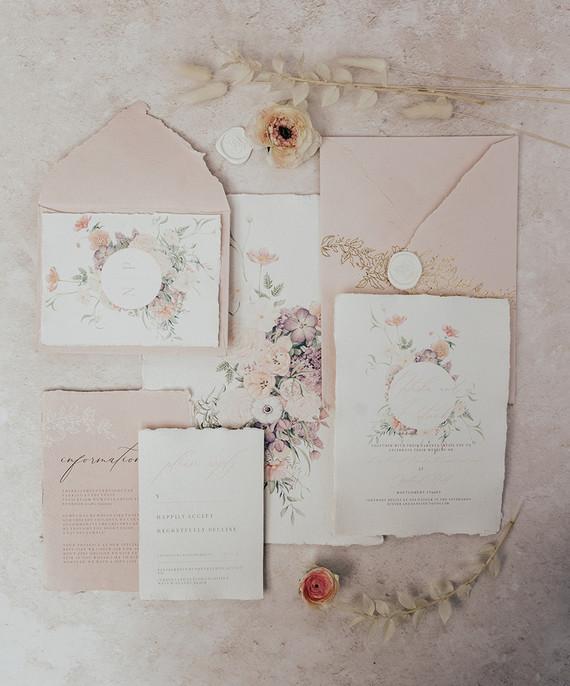 romantic spring wedding invitations