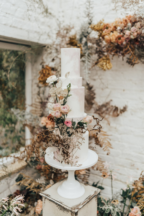 four tiered floral wedding cake