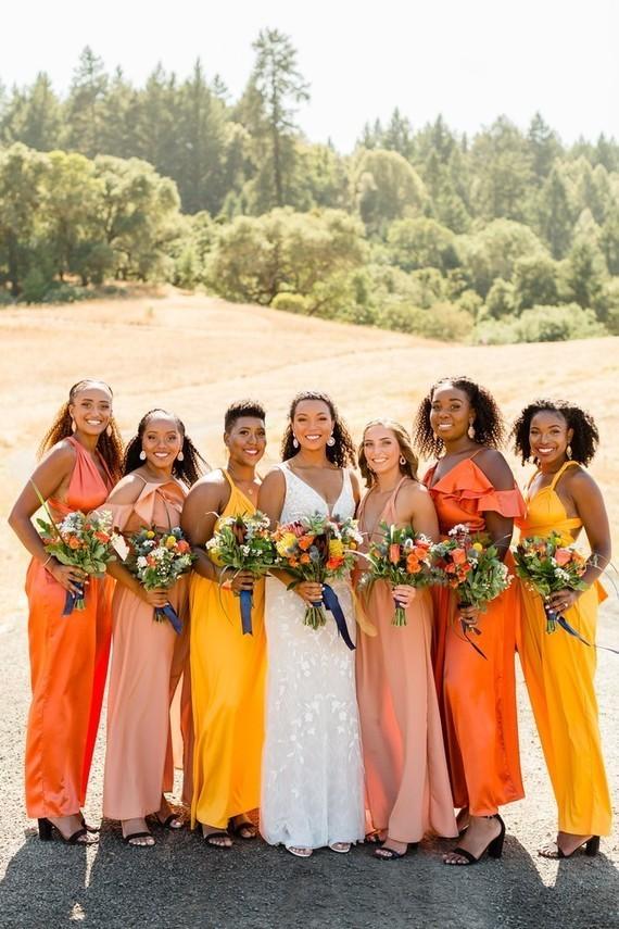 Orange bridesmaids