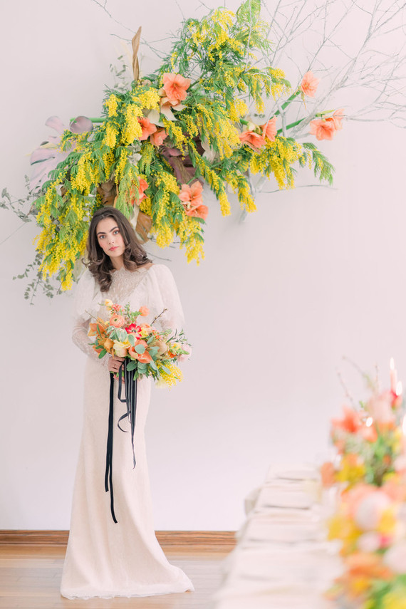 Colorful floral installation
