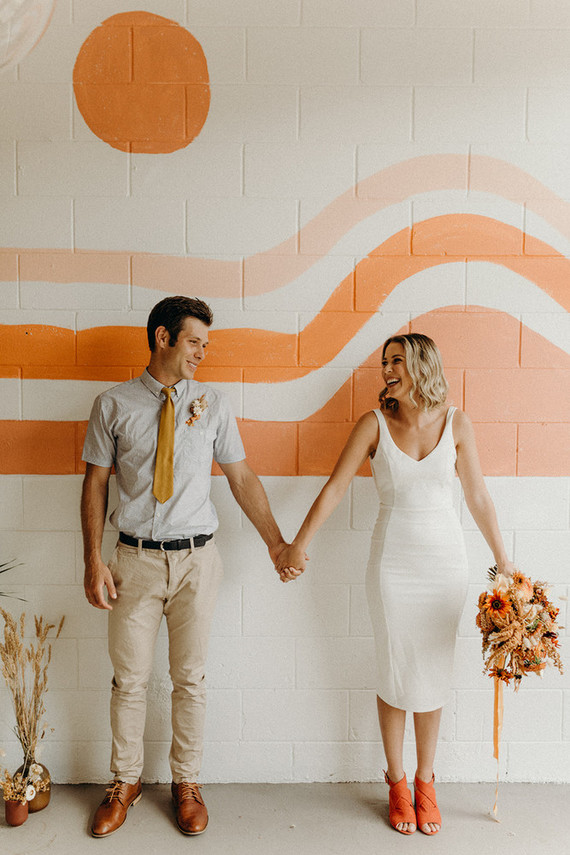 Intimate coffee shop elopement