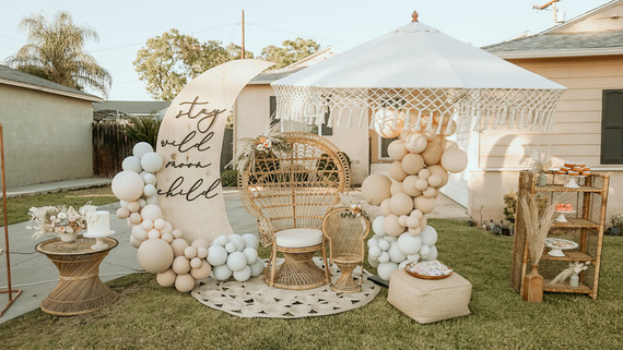 Moon baby shower decor