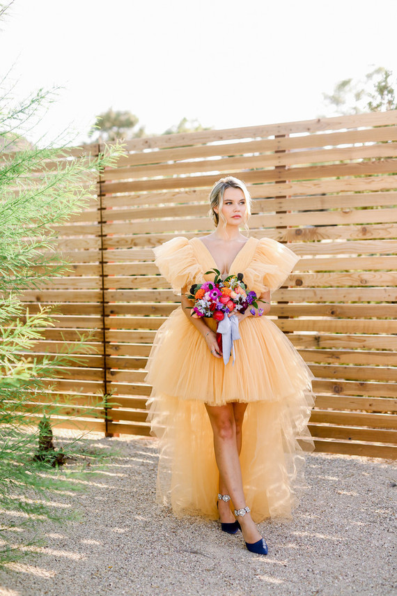 Colorful bridal gown
