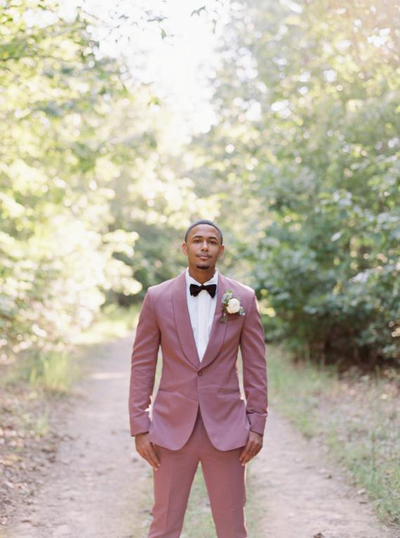 Mauve grooms suit