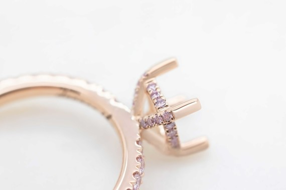 Pink Diamond under halo engagement ring trend