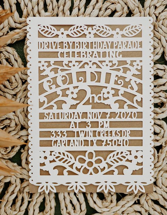 papel picador birthday invitation