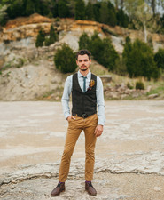Outdoor groom portrait