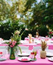 Tropical bridal shower tablescape