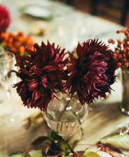 Red dahlia florals