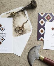 Bohemian wedding invitation suite