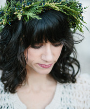 Pine garland bridal crown