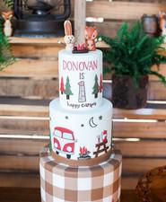 Vintage camping birthday cake