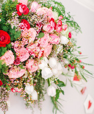 pink and red floral installation