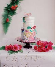 Colorful spring wedding cake