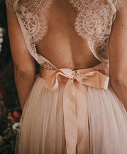 Blush lace wedding gown