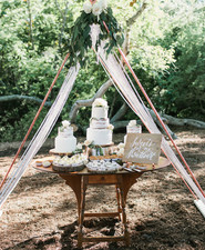 copper tent dessert table