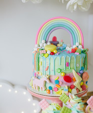 rainbow messy birthday cake